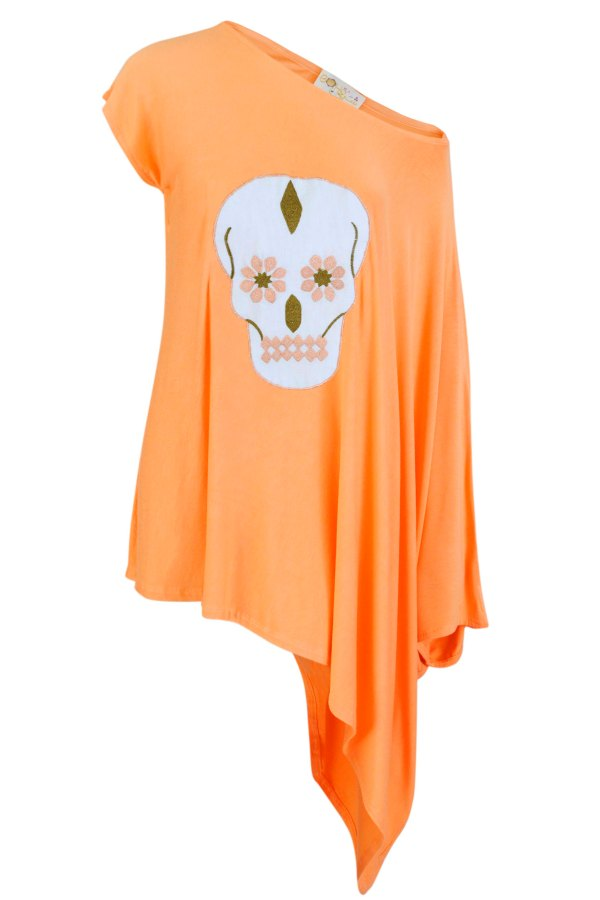 Asymmetric cotton top with Arabesque Skull motif