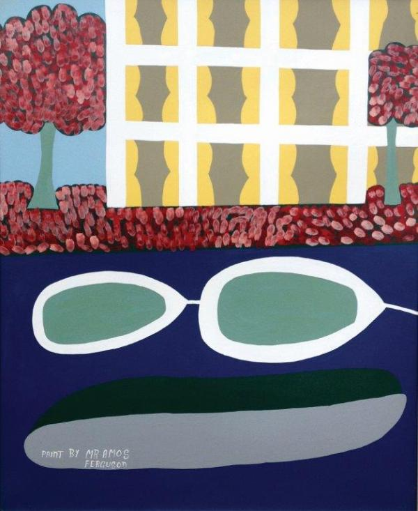 Amos Ferguson, Bahamas, Boats by the Hotel, 1984, Enamel on board, 36 x 30 inches Galerie Bonheur