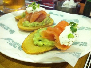 Smoked Salmon and Avocado potato skin